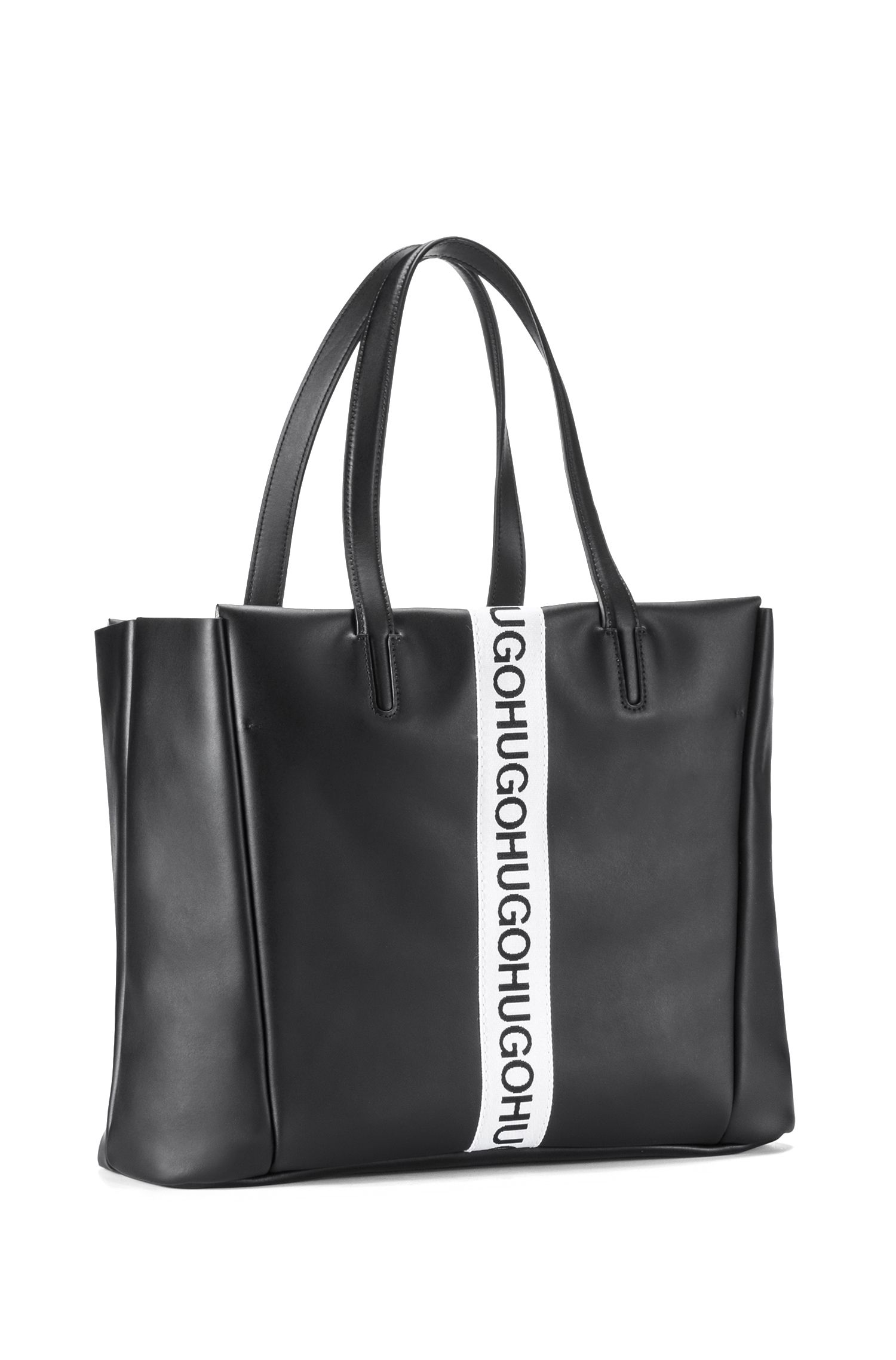 Small leather tote bag with logo stripe