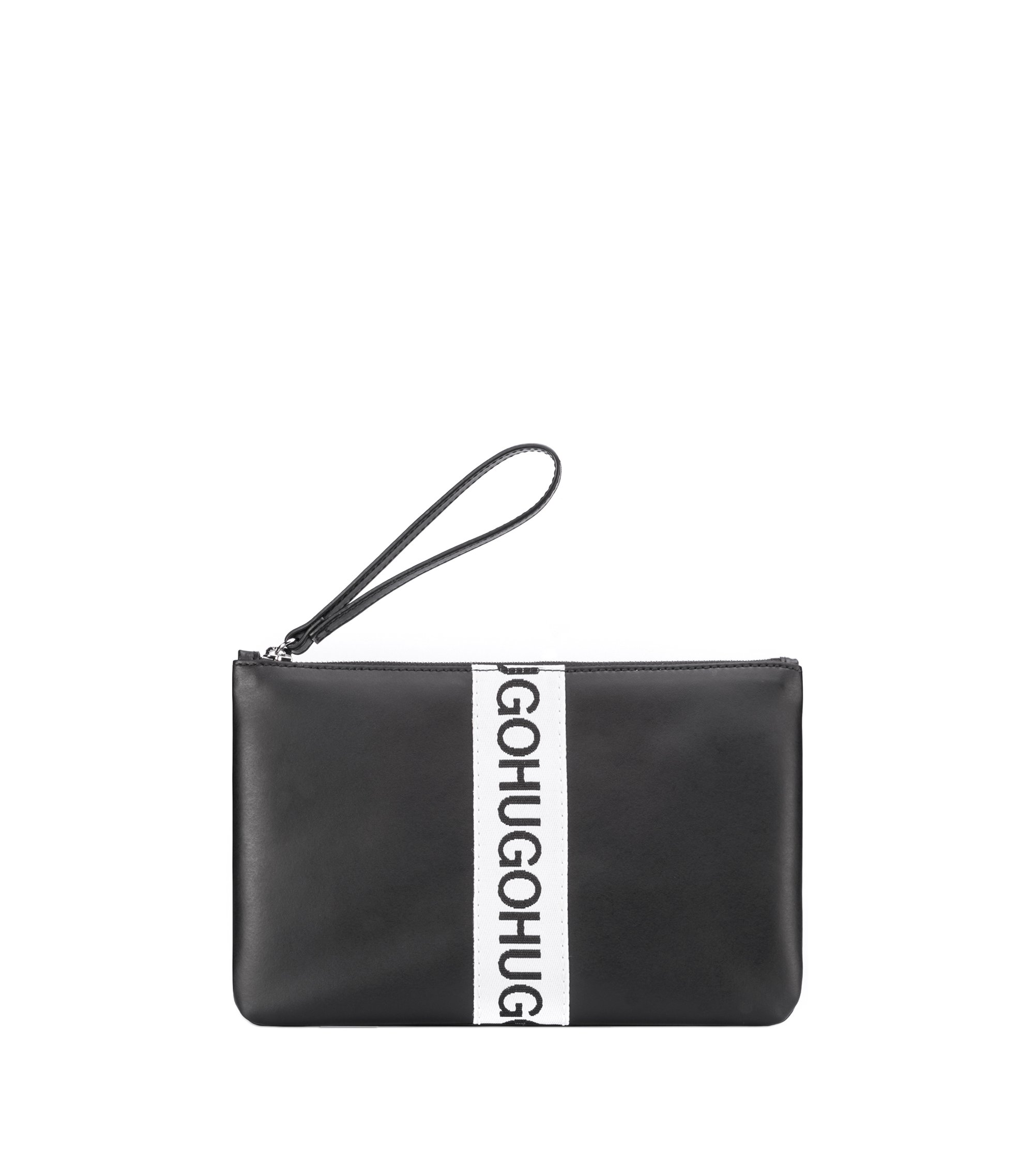 Leather pouch with repeat logo, Black