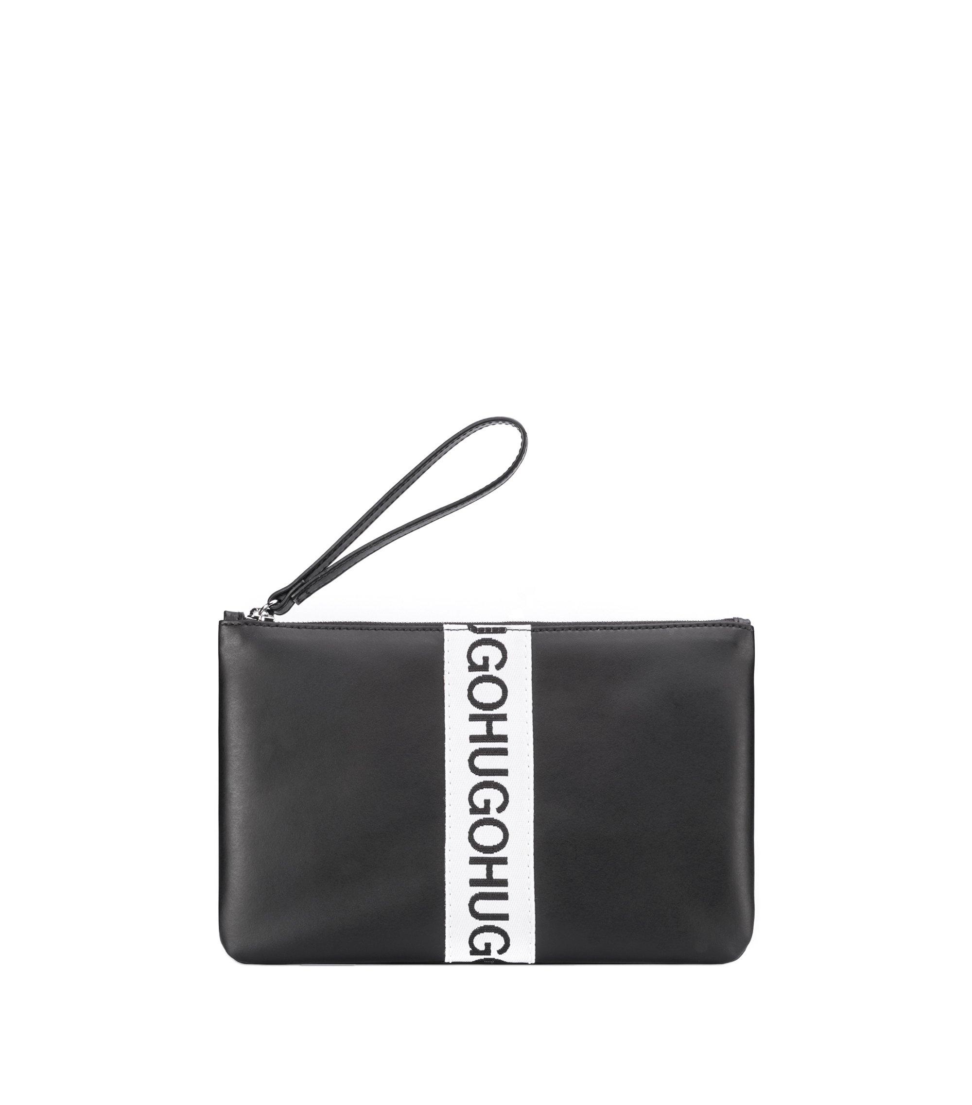 Bolso mini de piel con logos repetidos, Negro