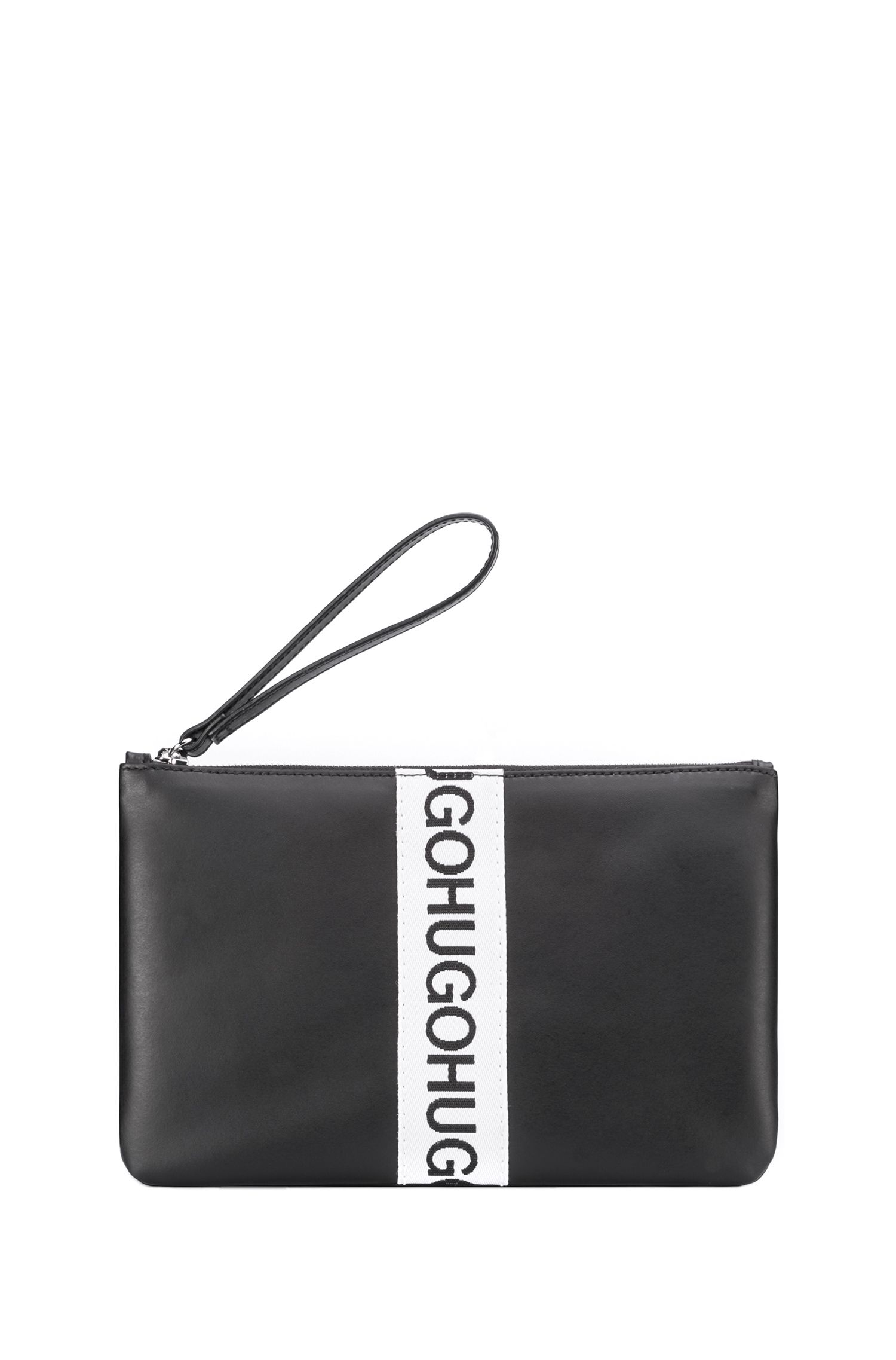Leather pouch with repeat logo