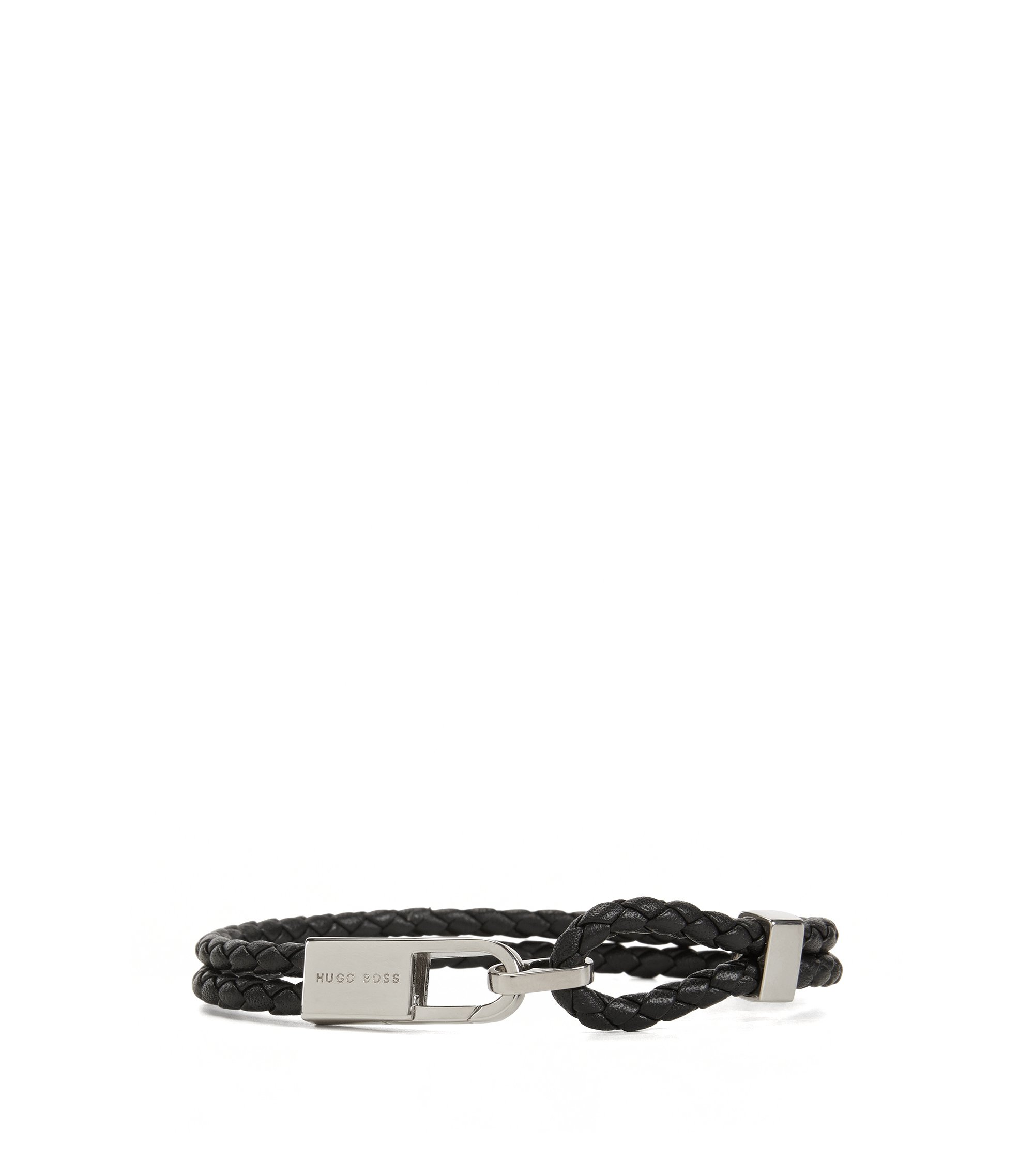 Double-wrap bracelet in leather, Black