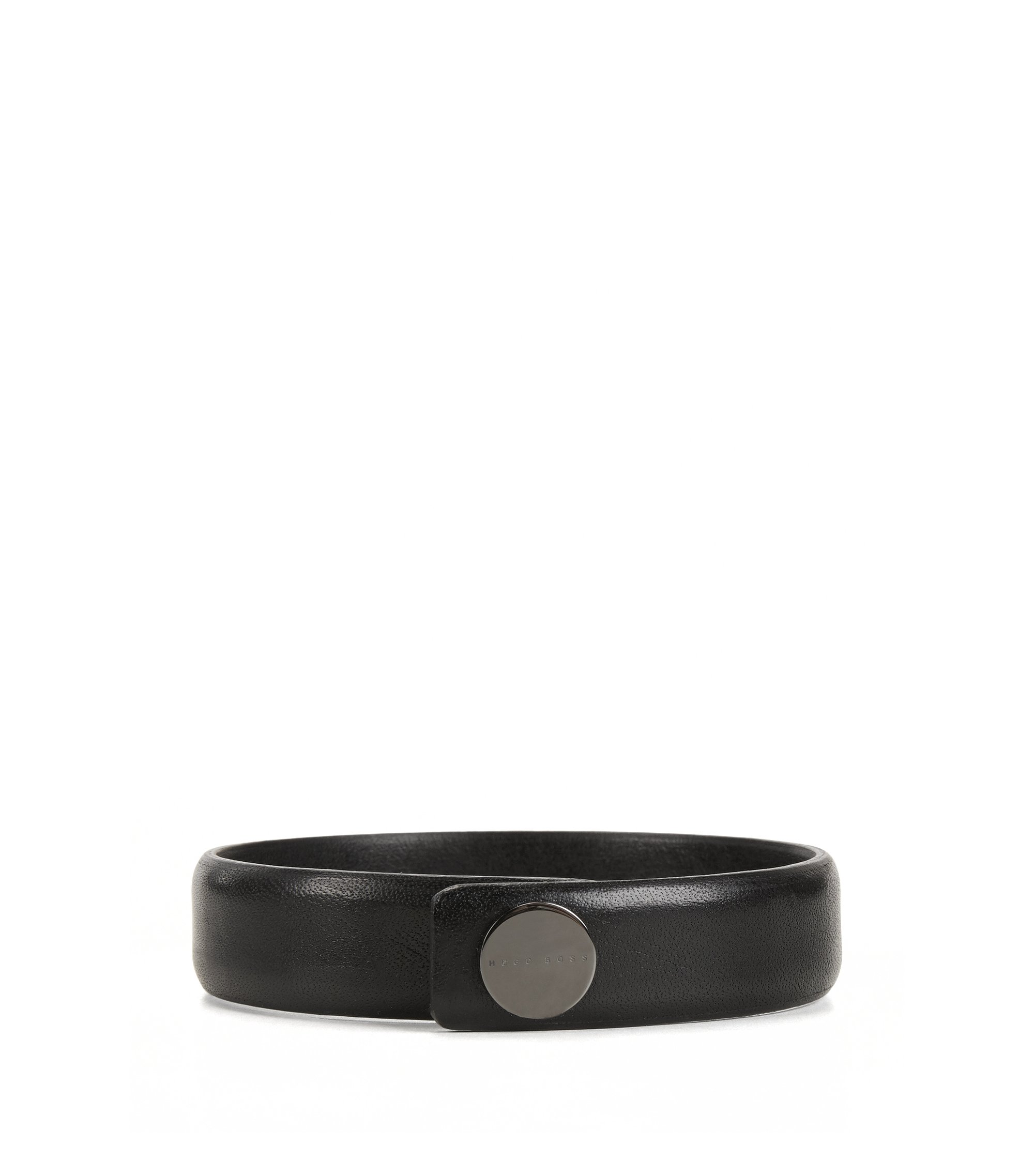 Grained leather bracelet with press-stud closure, Black