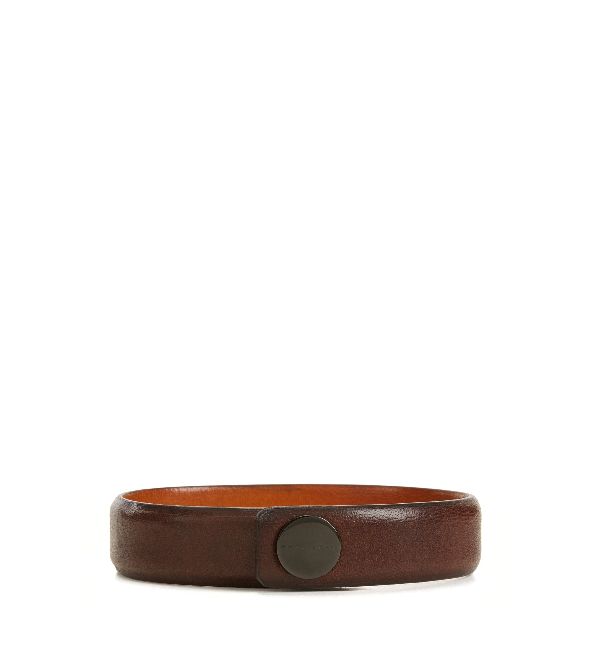 Grained leather bracelet with press-stud closure, Brown