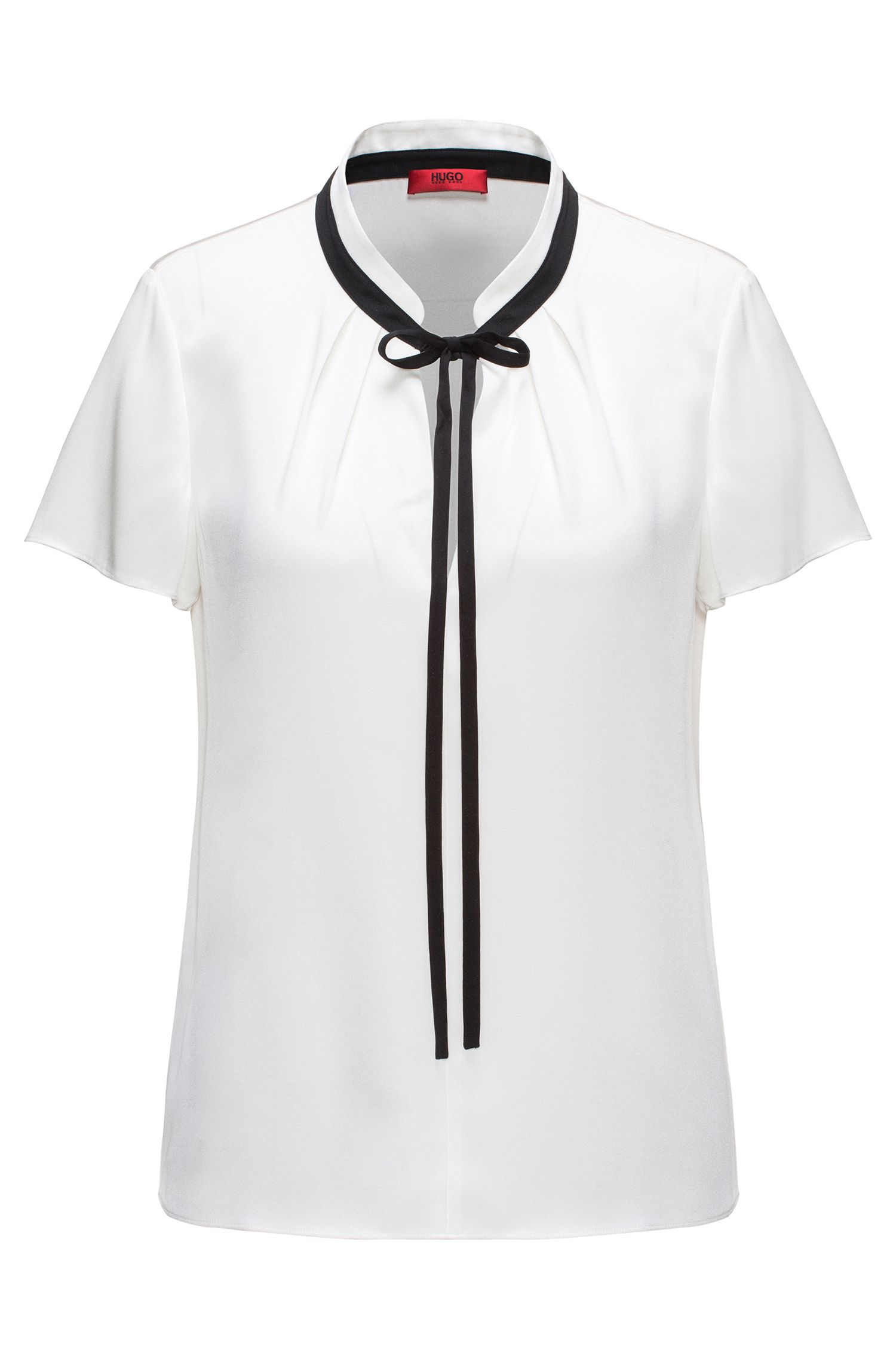 Short-sleeved top in stretch silk with bow detail