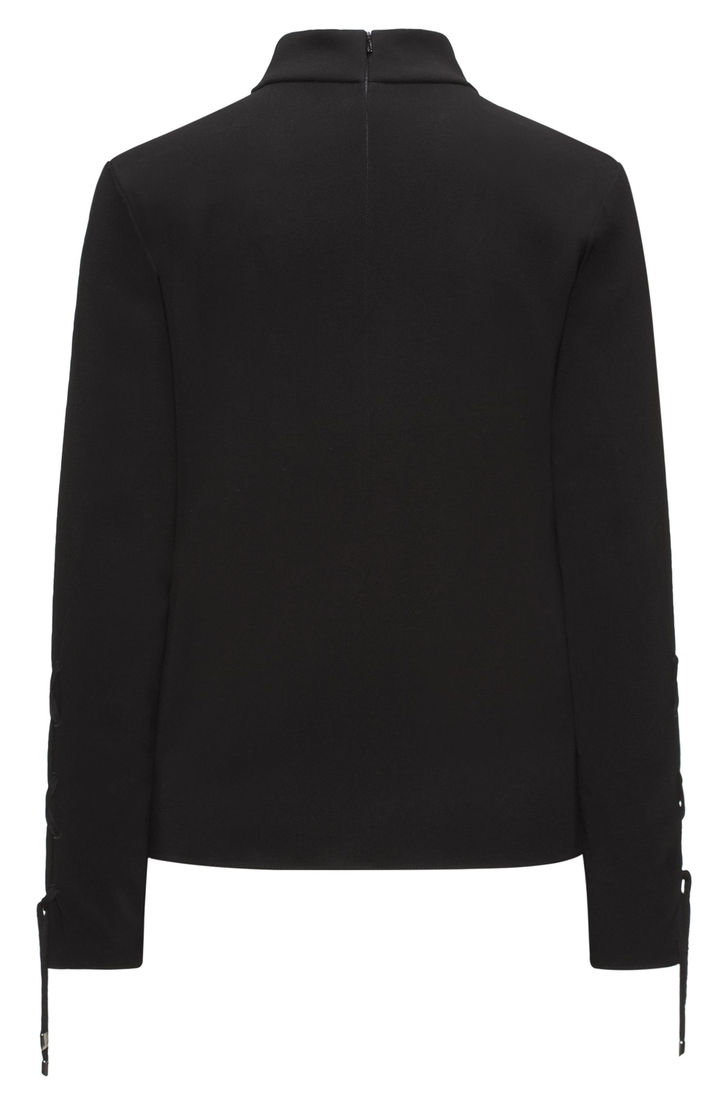 Turtle-neck top in fluid crêpe with laced sleeves