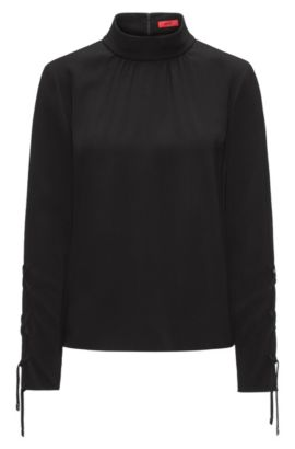 Turtle-neck top in fluid crêpe with laced sleeves, Black