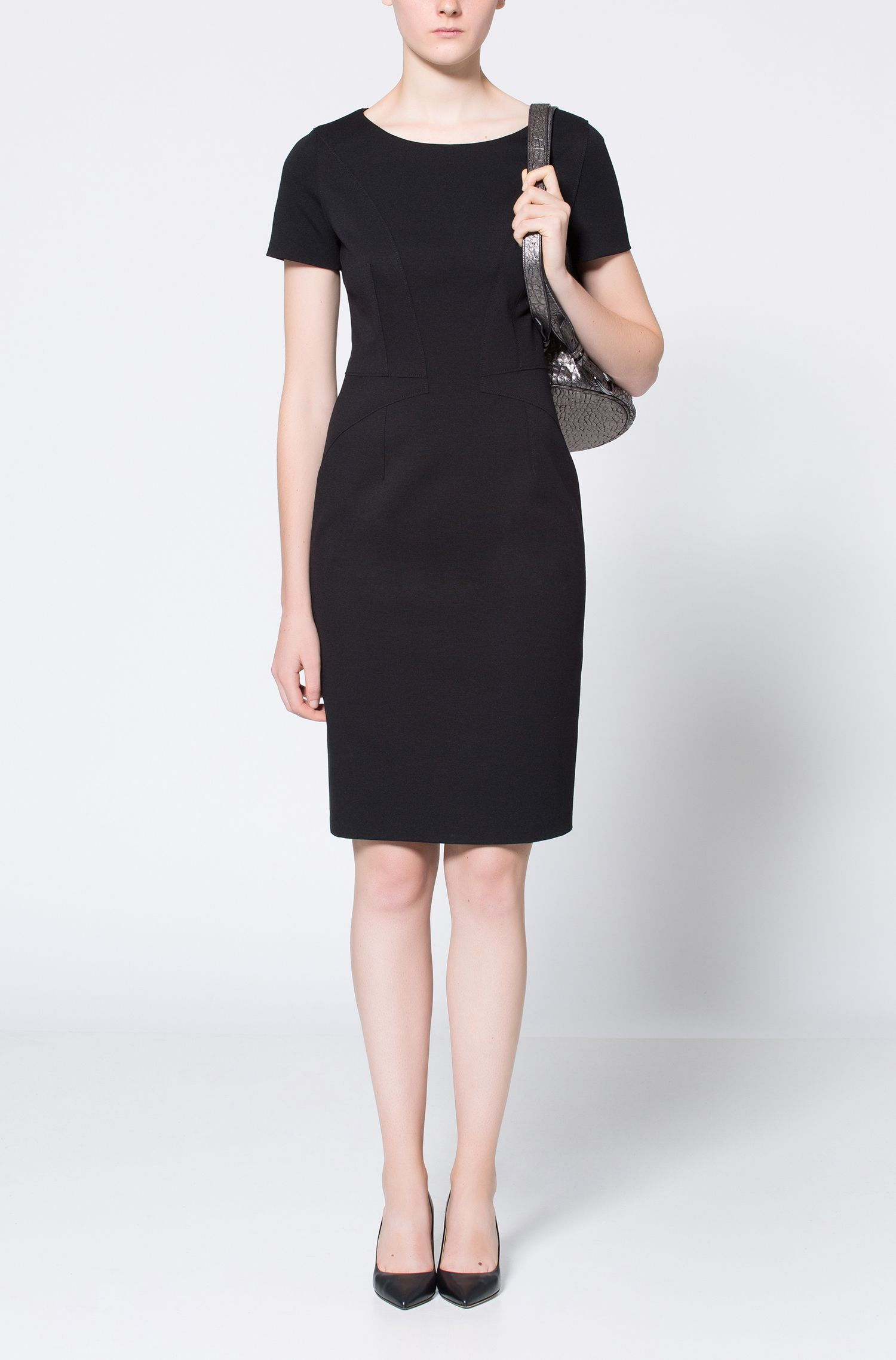 Pencil dress in panelled stretch jersey HUGO BOSS