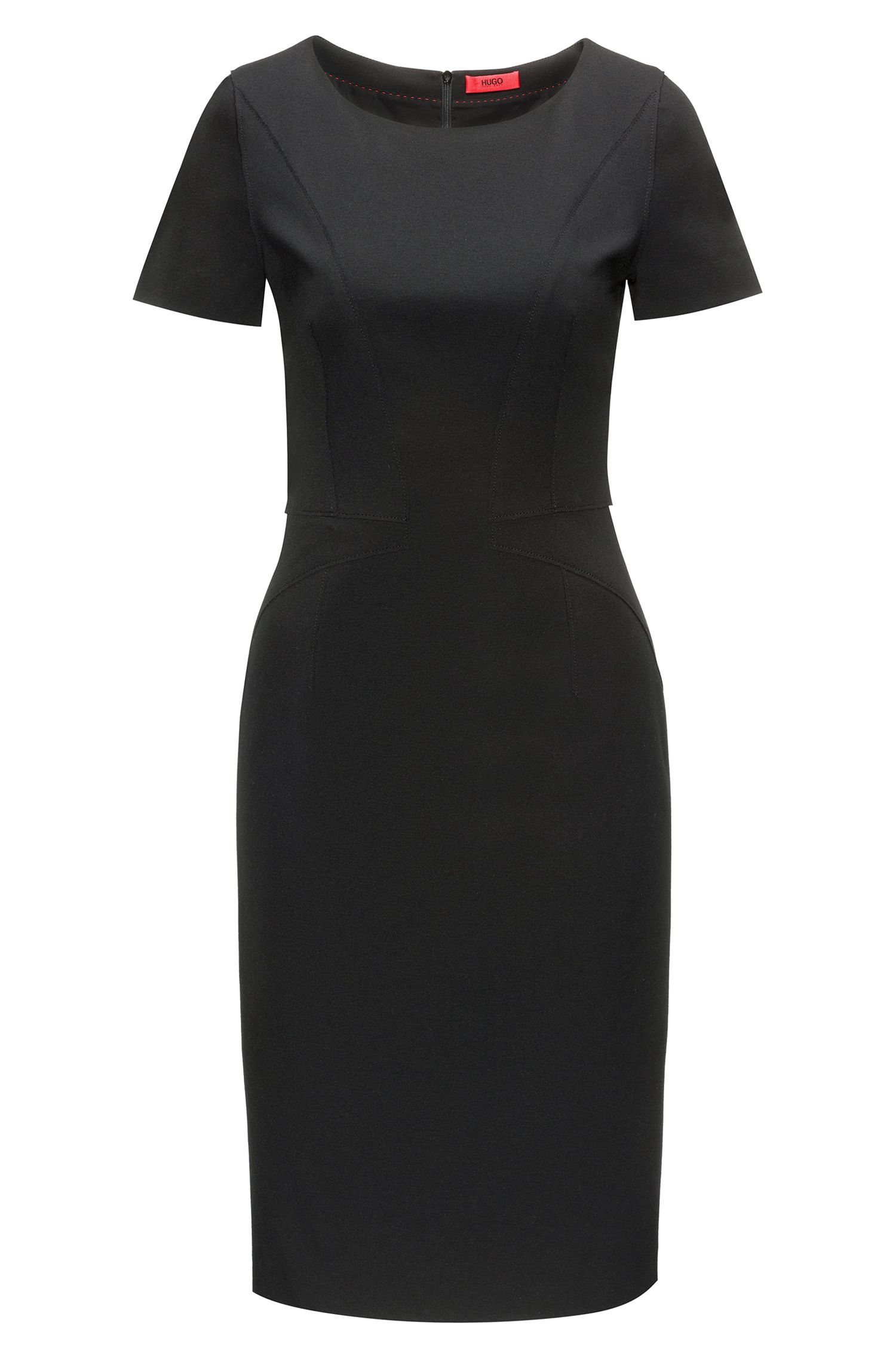 Pencil dress in panelled stretch jersey