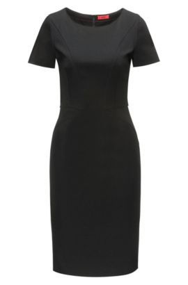 Pencil dress in panelled stretch jersey, Black