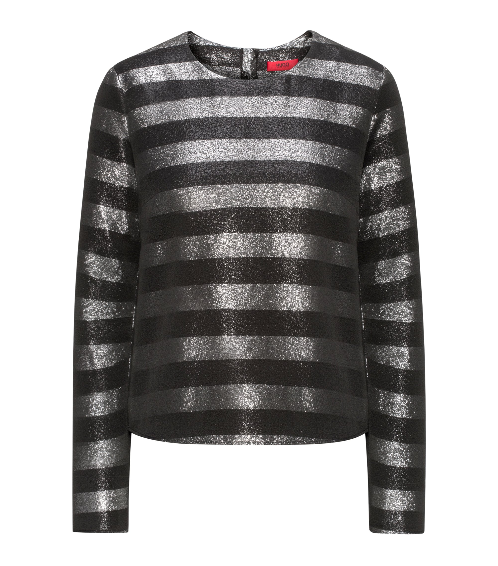 Metallic-striped top with long sleeves, Black
