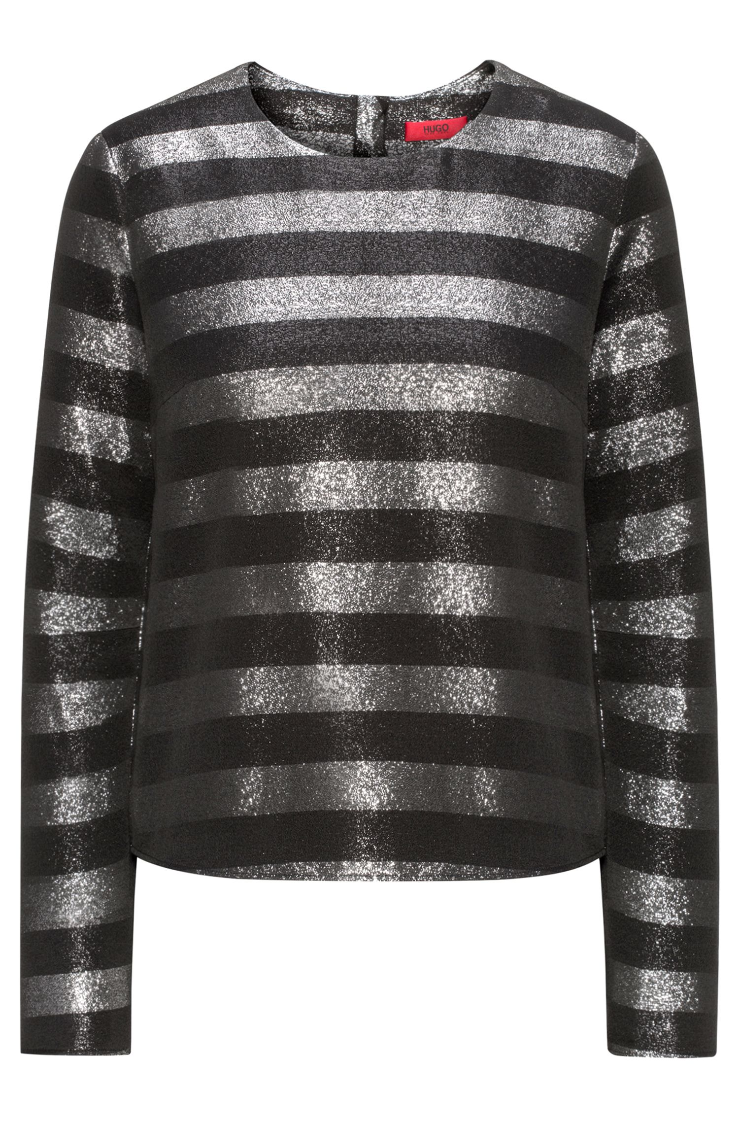 Metallic-striped top with long sleeves
