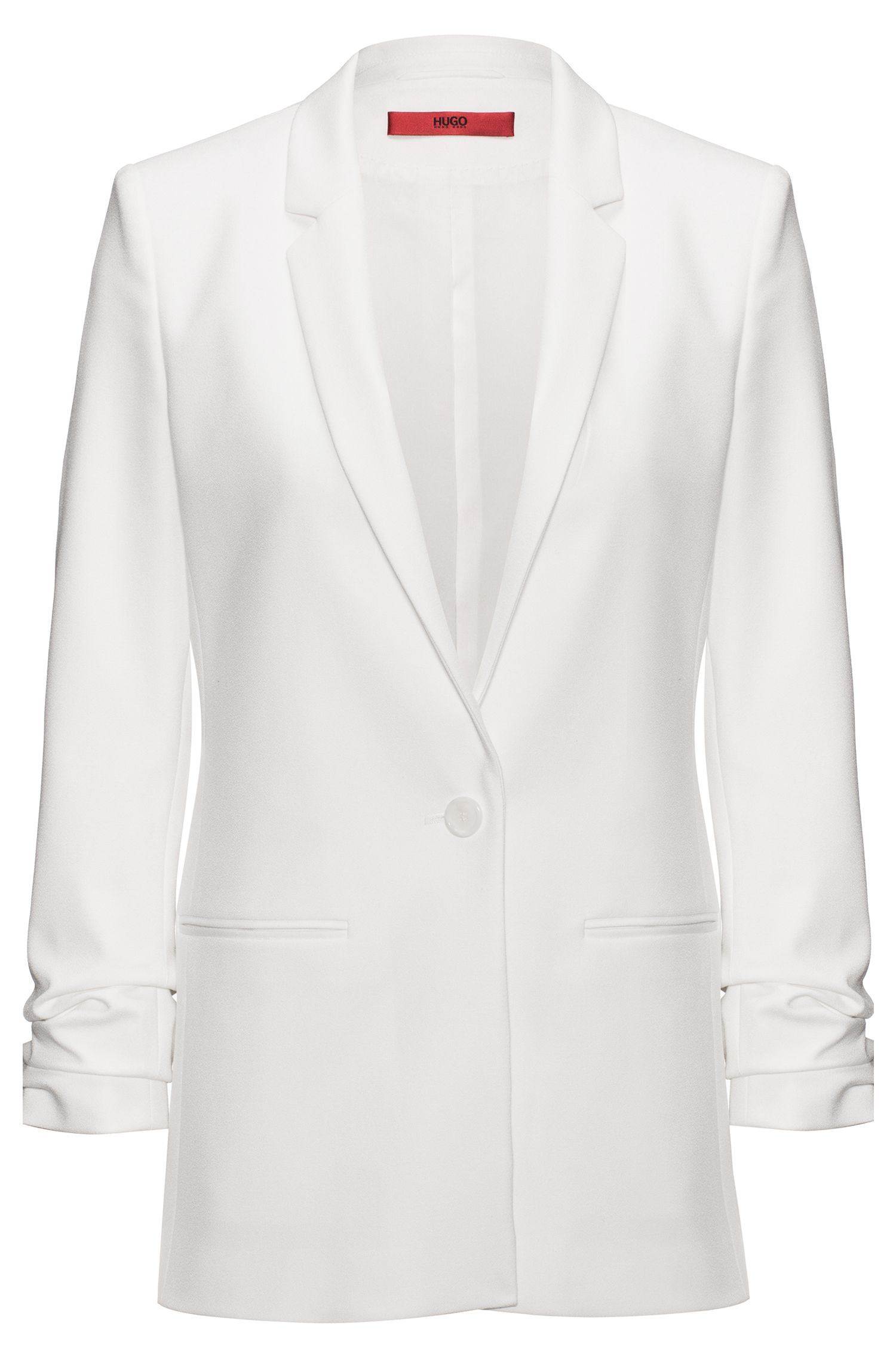 Regular-fit crêpe jacket with ruched sleeves