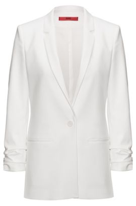 Regular-fit crêpe jacket with ruched sleeves, Natural