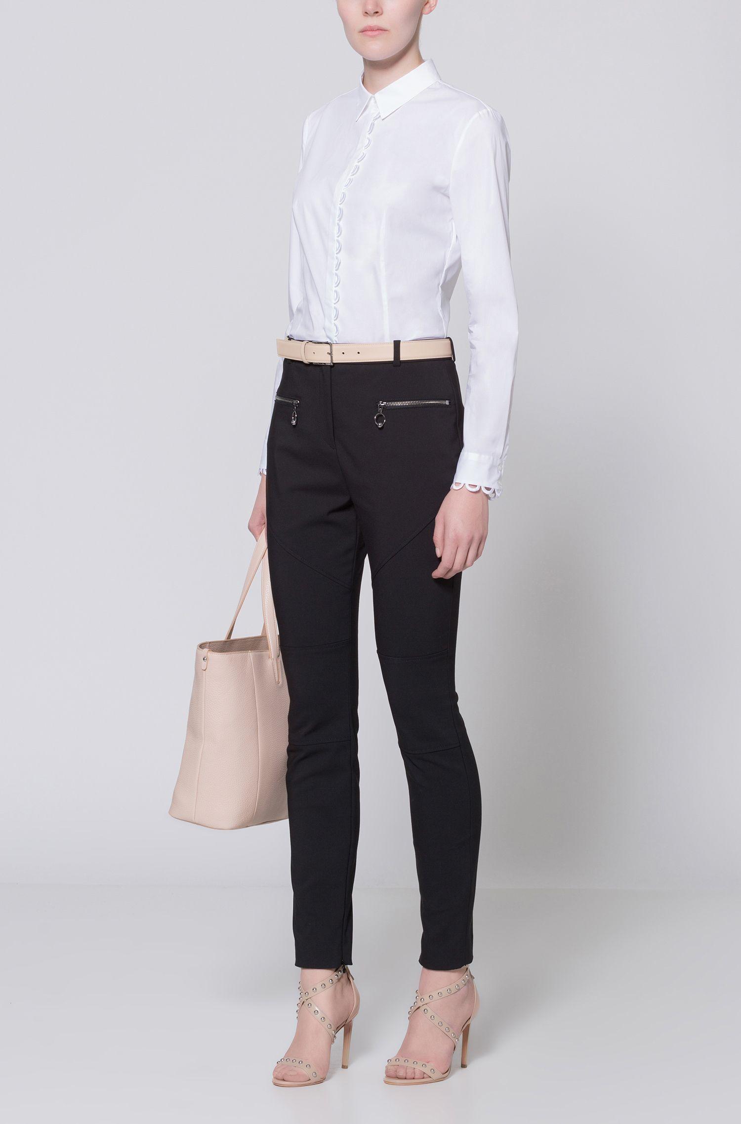 Skinny-Fit Hose aus elastischem Baumwoll-Mix mit Naht-Details in Biker-Optik HUGO BOSS ZTFC1