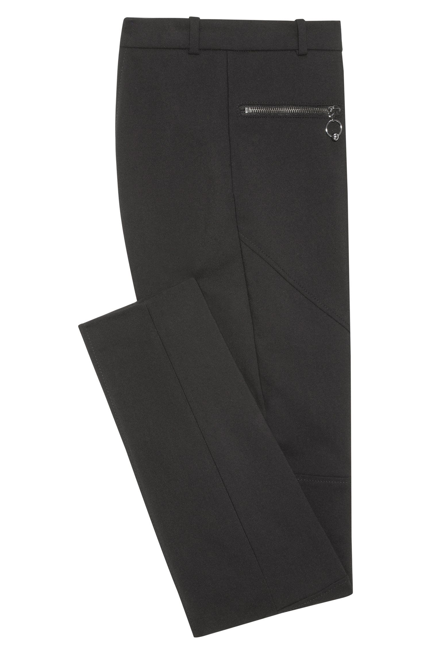 Pantalones skinny fit en mezcla de algodón con costuras biker