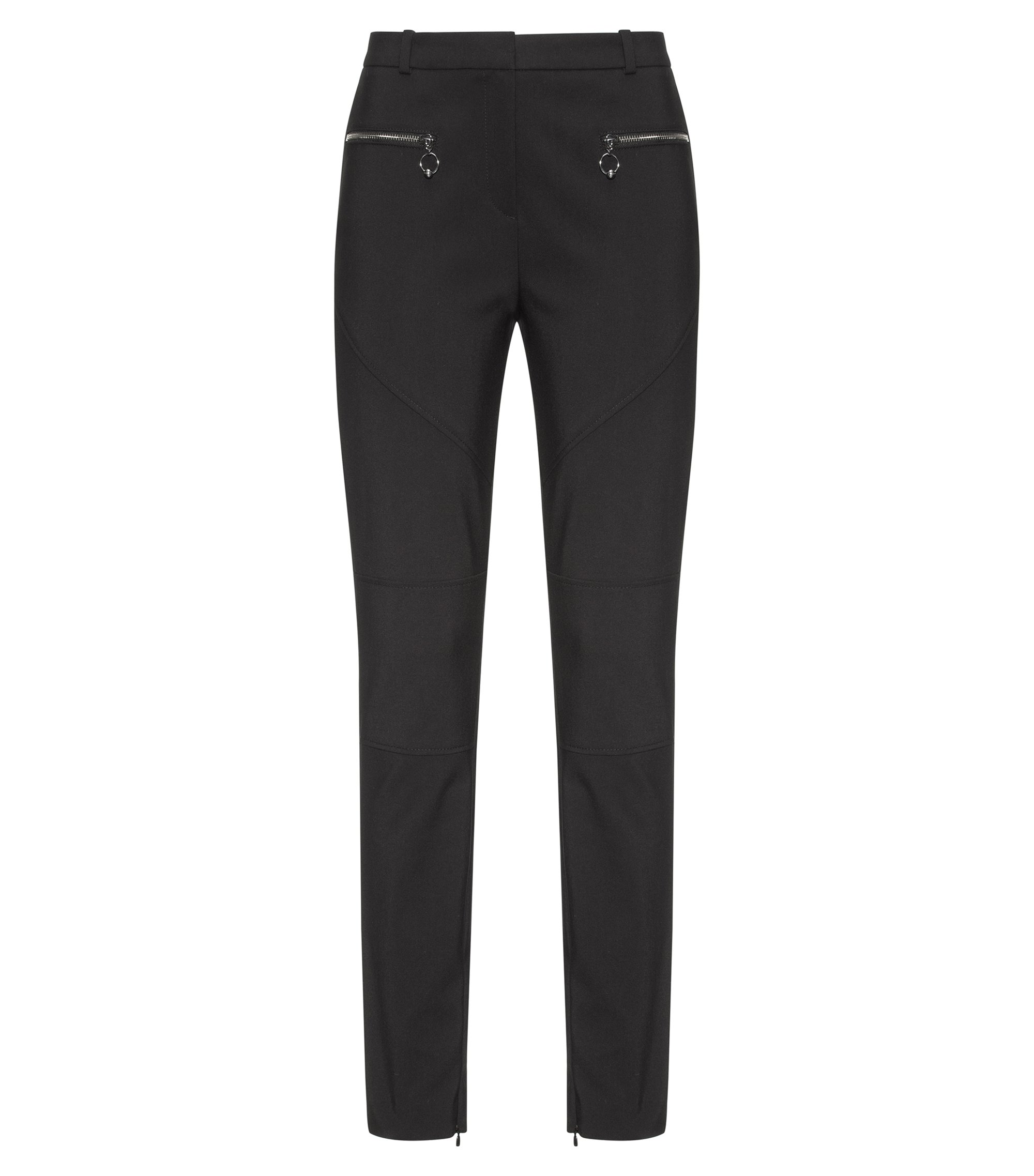 Cotton-blend skinny-fit trousers with biker seams, Black