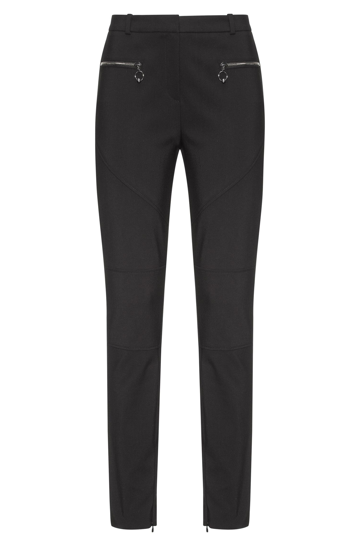 Cotton-blend skinny-fit trousers with biker seams