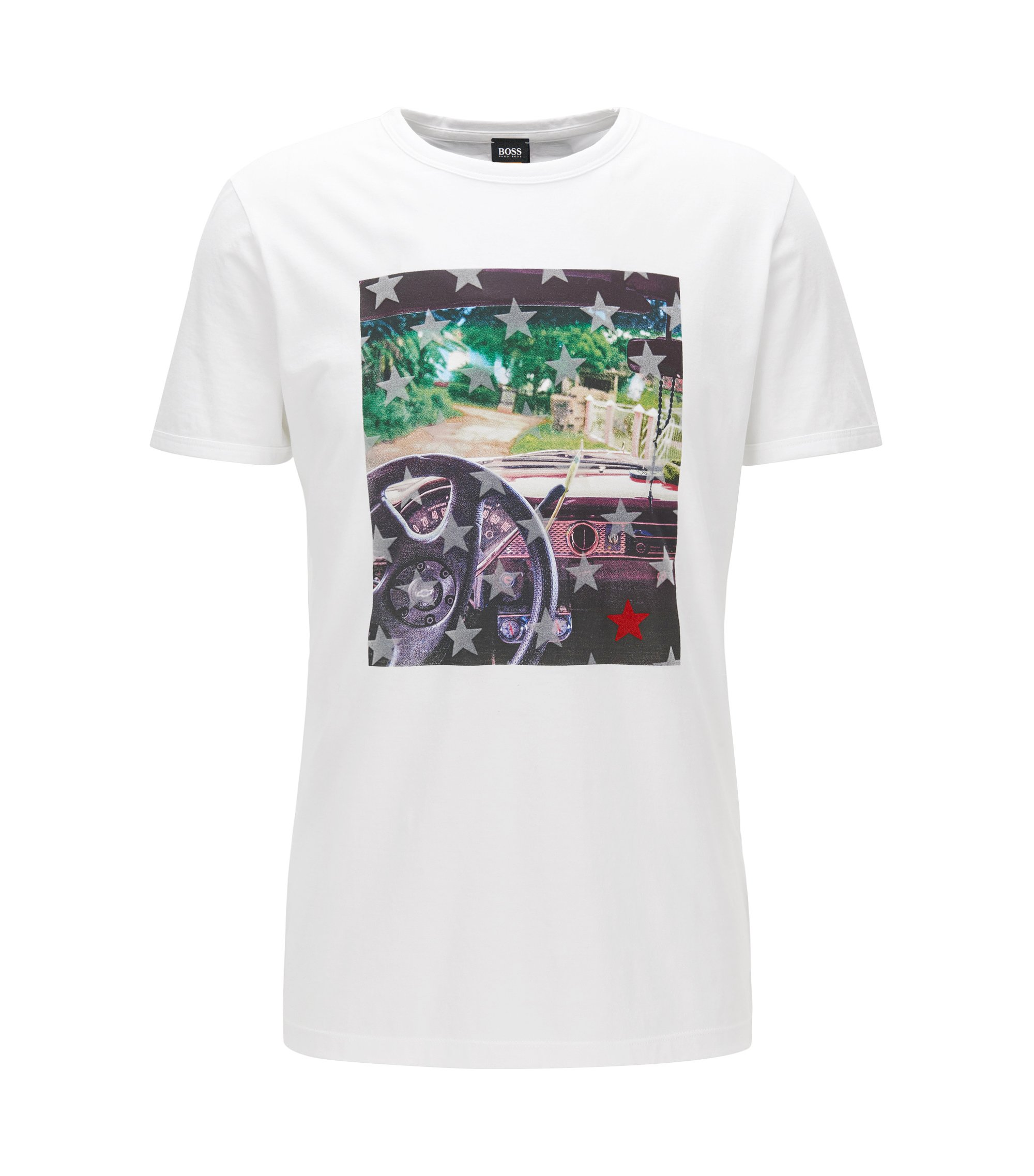 Regular-fit cotton T-shirt with photo print, White