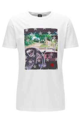 T-shirt regular fit in cotone con stampa fotografica, Bianco