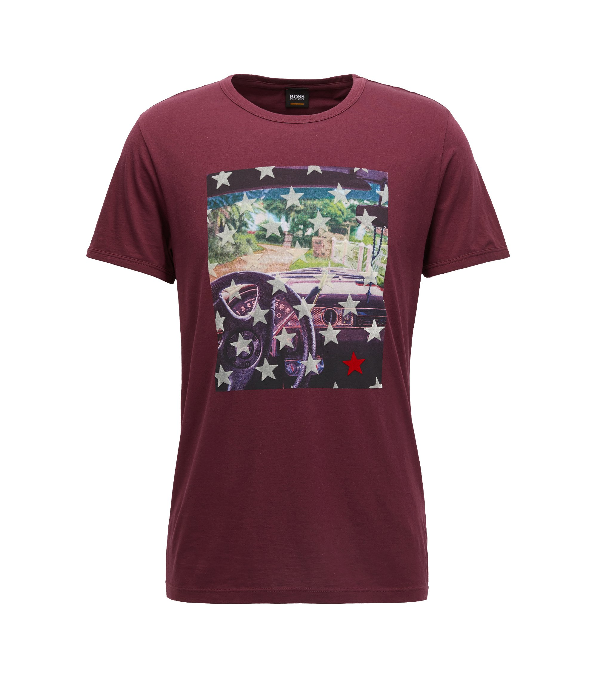Regular-fit cotton T-shirt with photo print, Dark Red