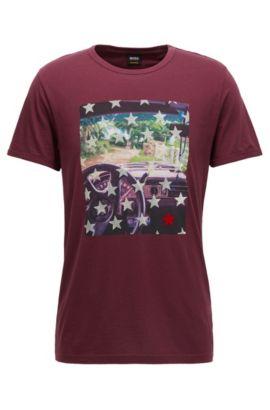 T-shirt en coton Regular Fit à imprimé photo, Rouge sombre