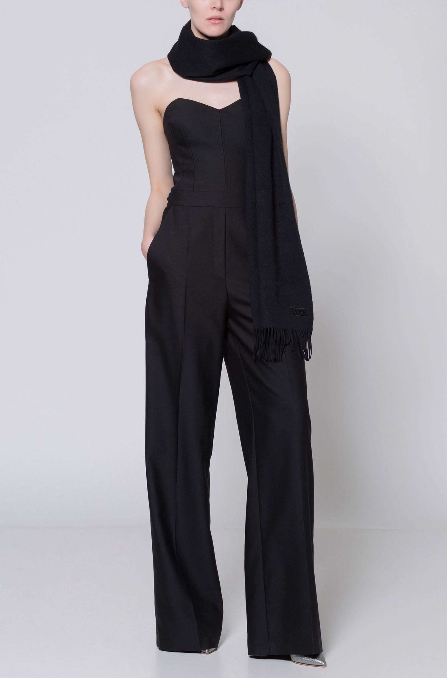 Tuta jumpsuit in misto lana con top a corsetto