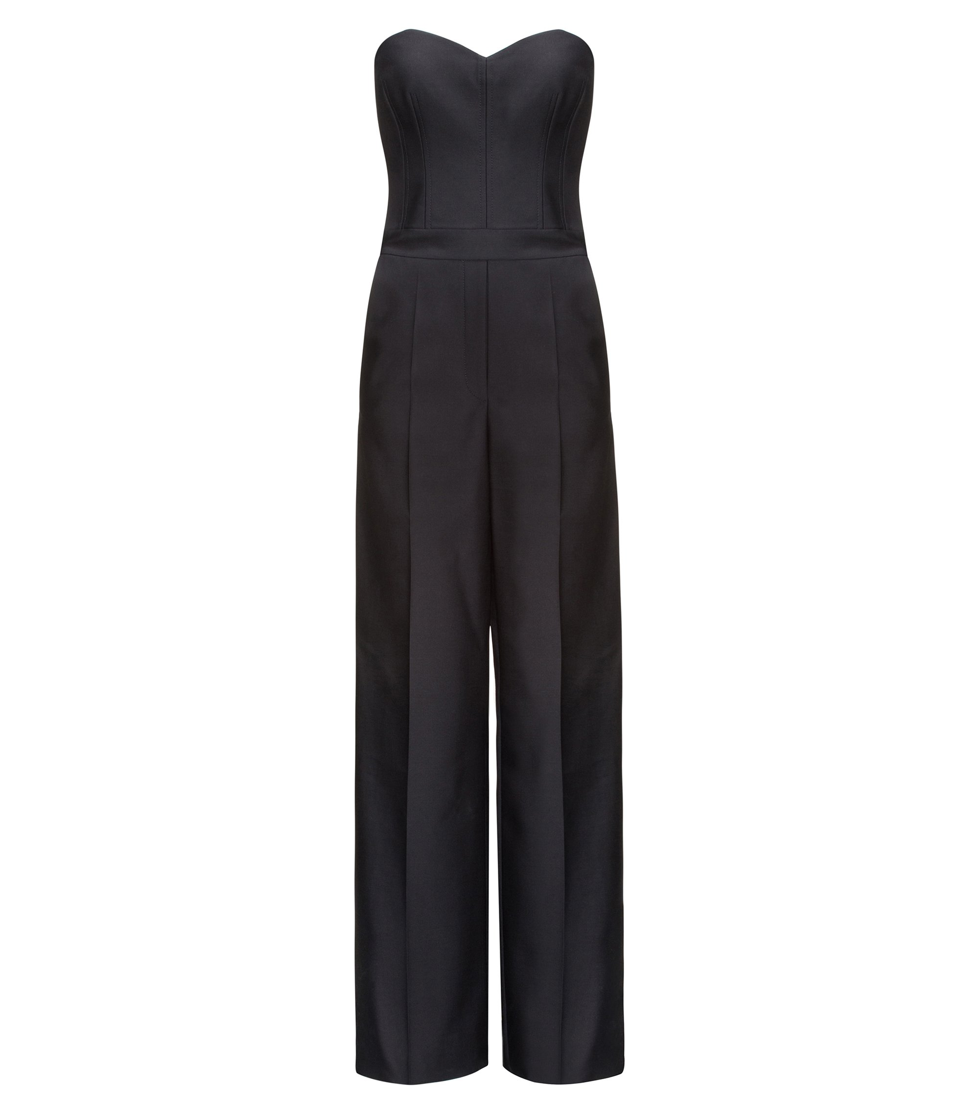 Tuta jumpsuit in misto lana con top a corsetto, Nero