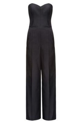 Wool-blend jumpsuit with corset top, Black