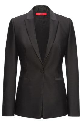 Regular-fit tailored jacket in a wool blend, Black