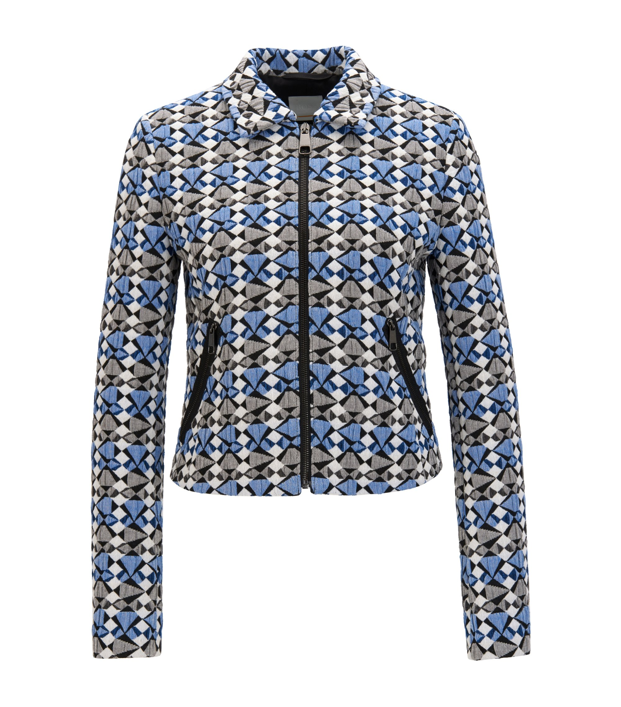 Regular-fit jacket in multicoloured stretch jacquard, Patterned