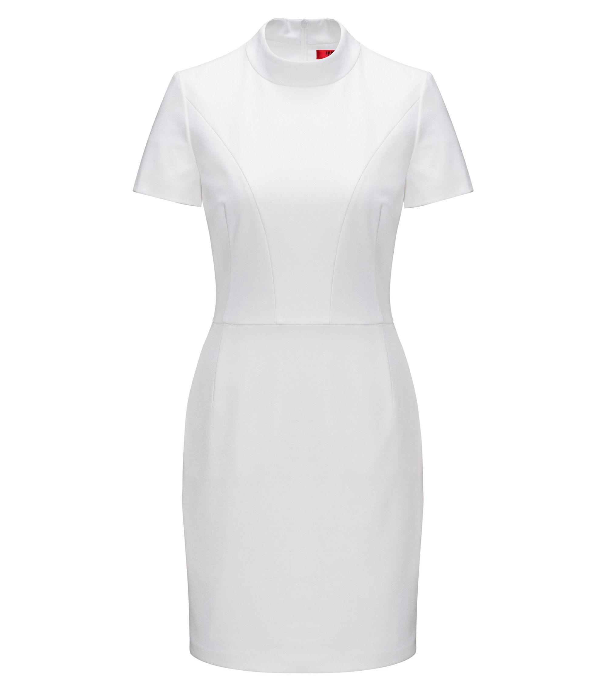 Shaped day-dress with collar in fine crepe  , White