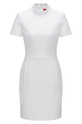 Shaped Day Dress With Collar In Fine Crepe White