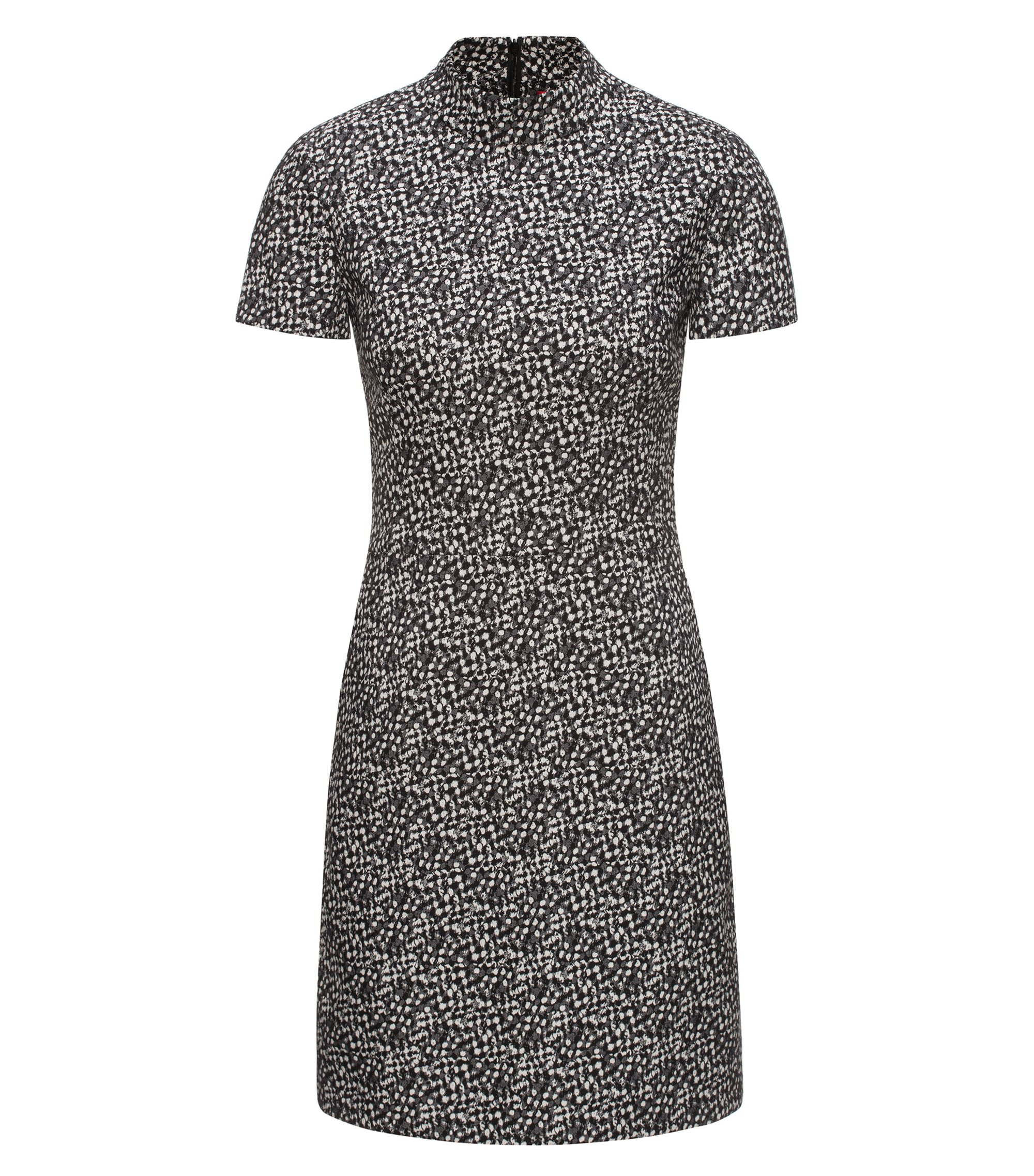 Turtle-neck patterned dress in a cotton blend, Black