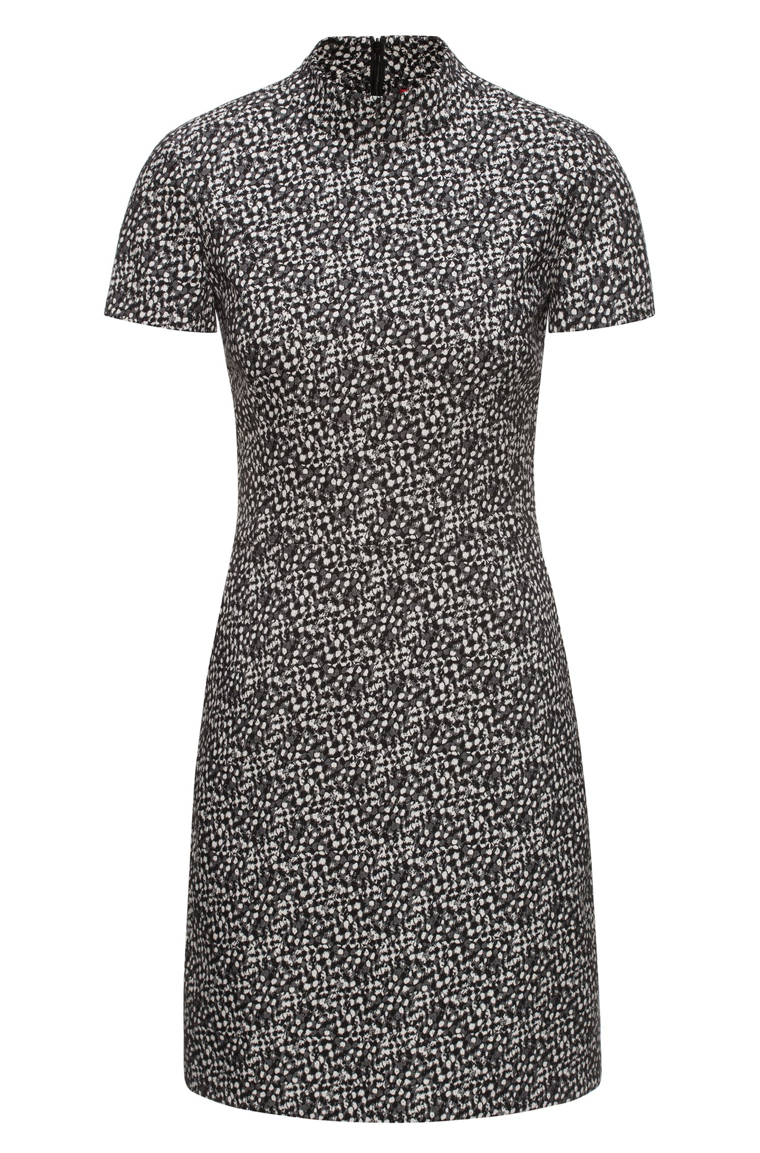 Hochgeschlossenes Kleid aus gemustertem Baumwoll-Mix mit Elasthan-Anteil