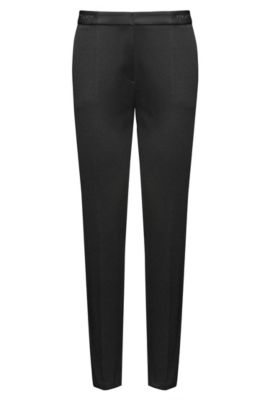 Slim-fit trousers in a cotton blend, Black