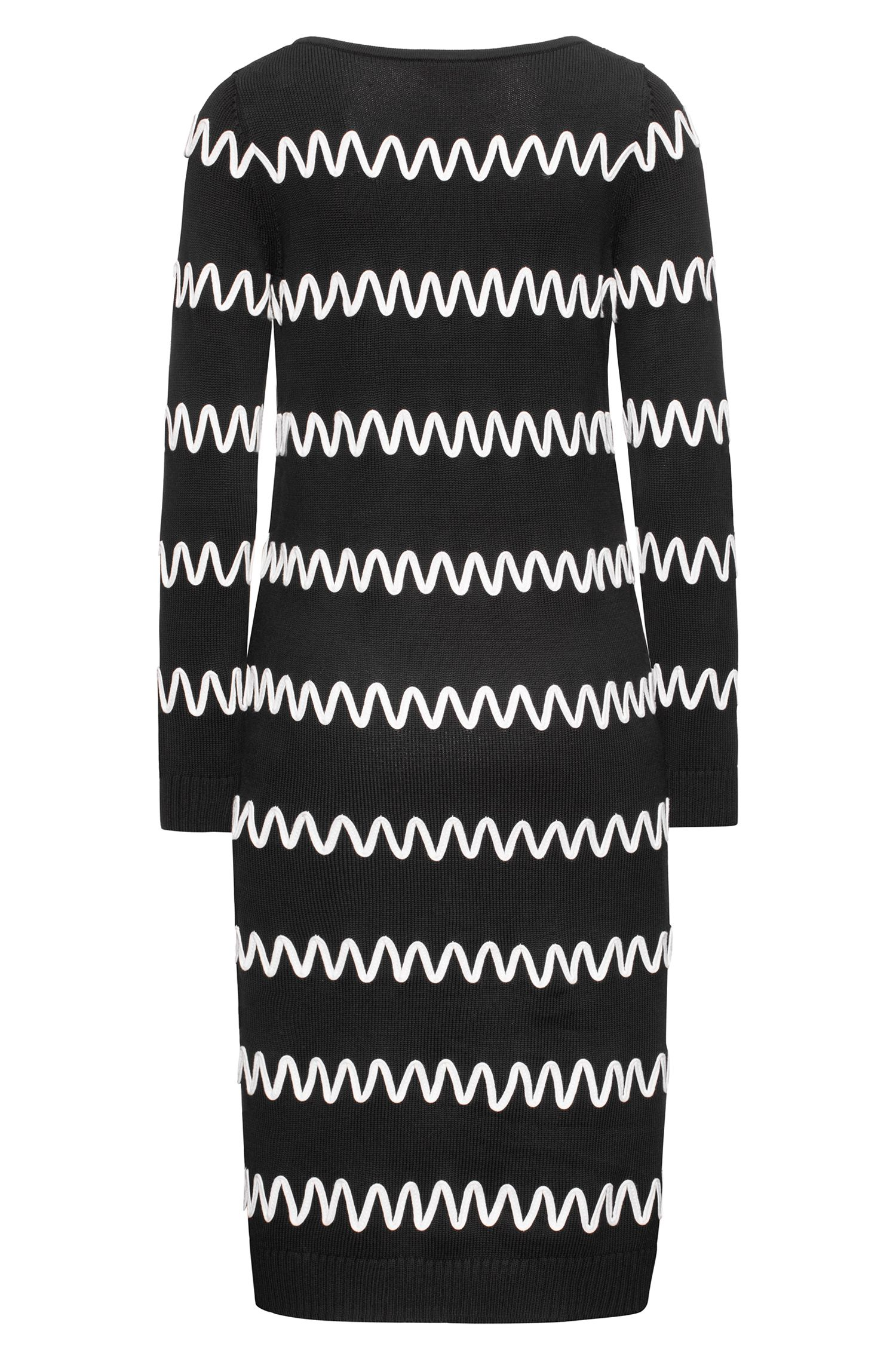 Long-sleeved cotton-blend dress with stripe