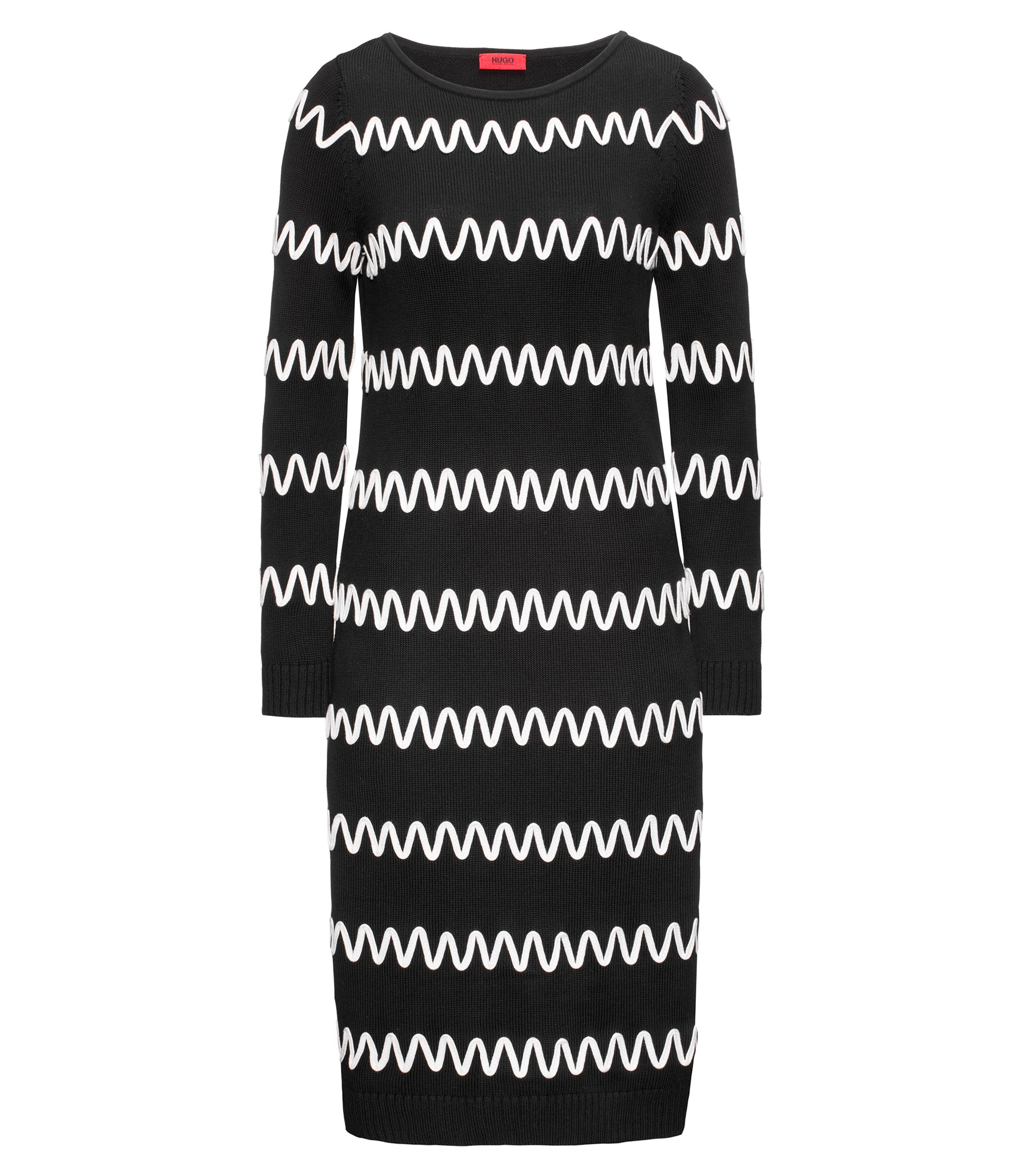 Long-sleeved cotton-blend dress with stripe, Black
