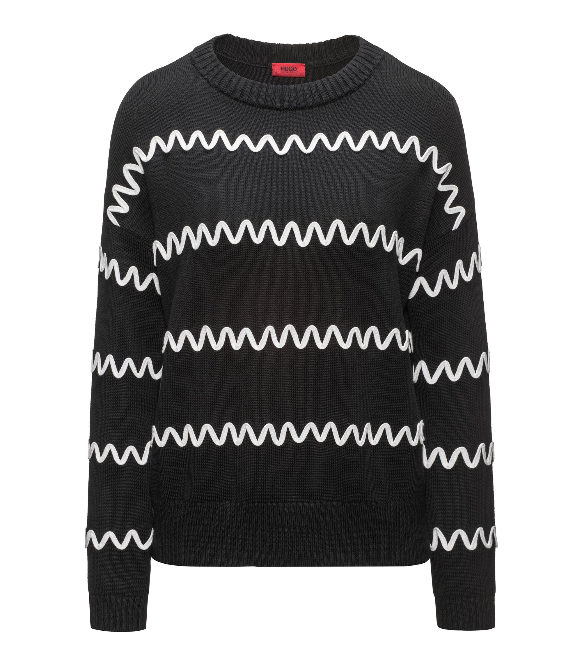 Cotton-blend sweater with wavy stripe appliqué, Black