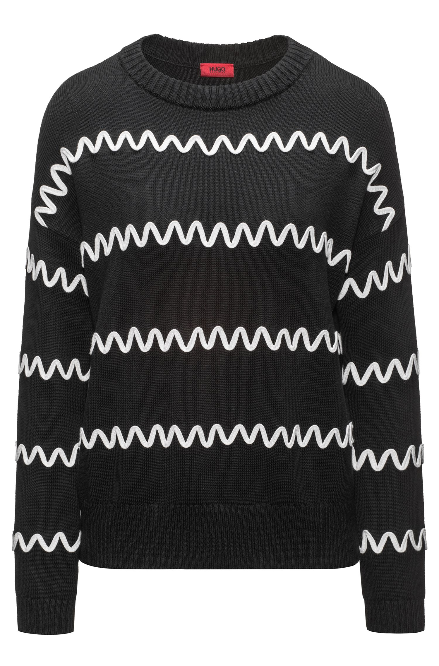 Cotton-blend sweater with wavy stripe appliqué