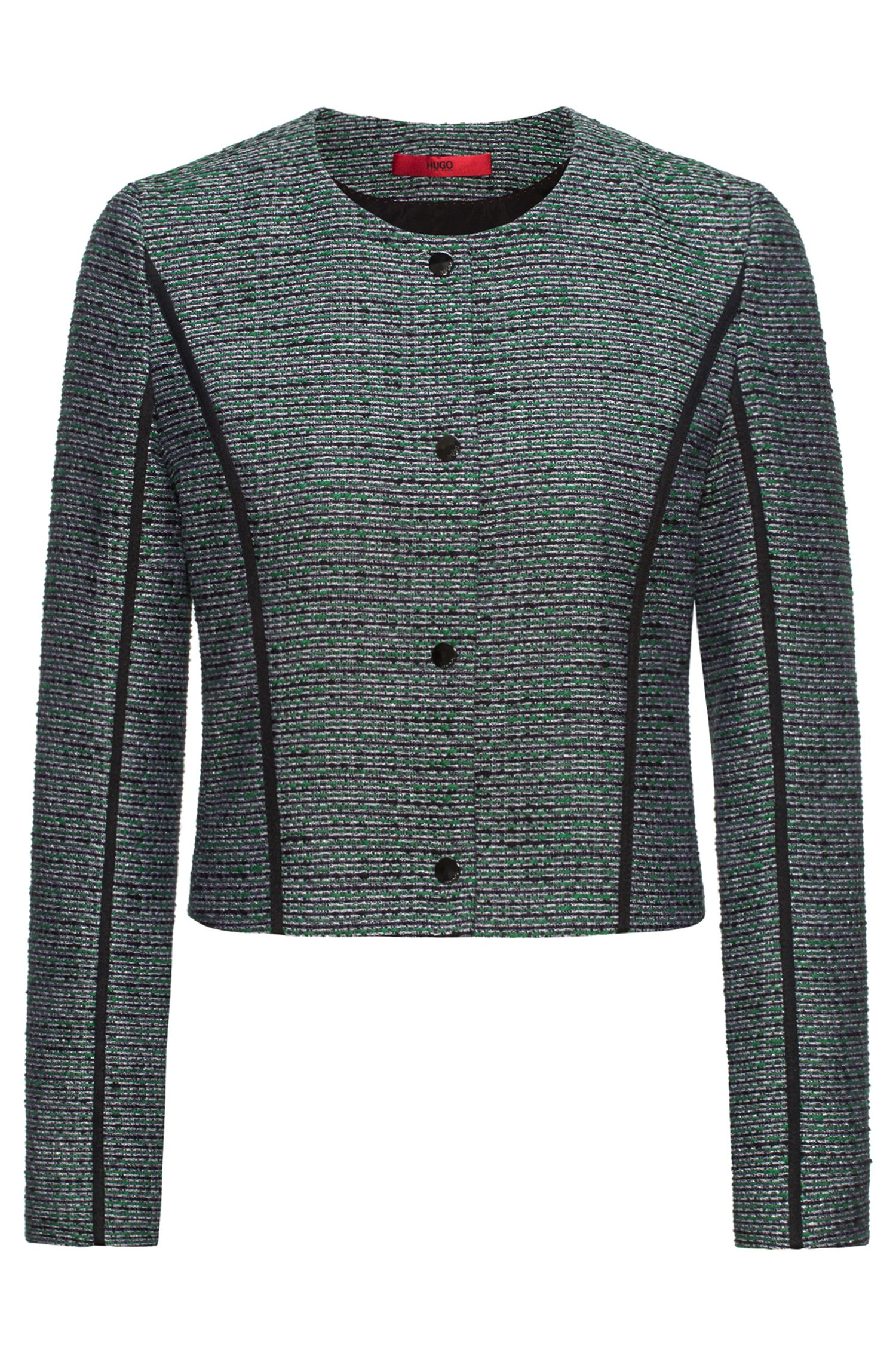 Relaxed-fit cropped tweed jacket with contrast piping, Patterned