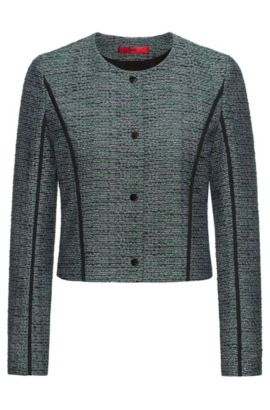 Chaquetilla relaxed fit en tweed con ribetes en contraste, Fantasía