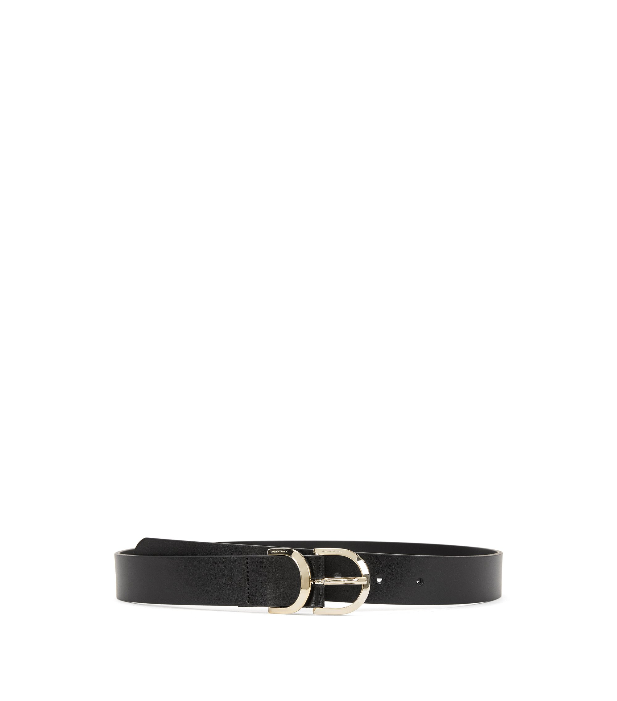 Leather belt with double-ring buckle, Black