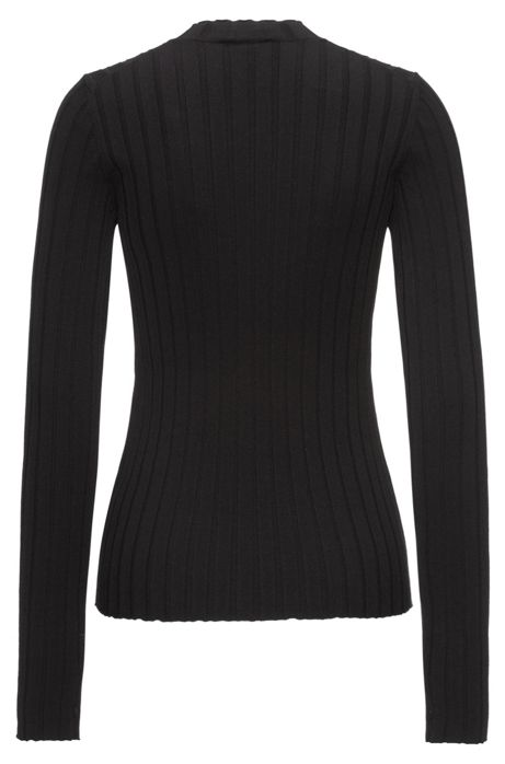 ribbed sweater with a high neckline