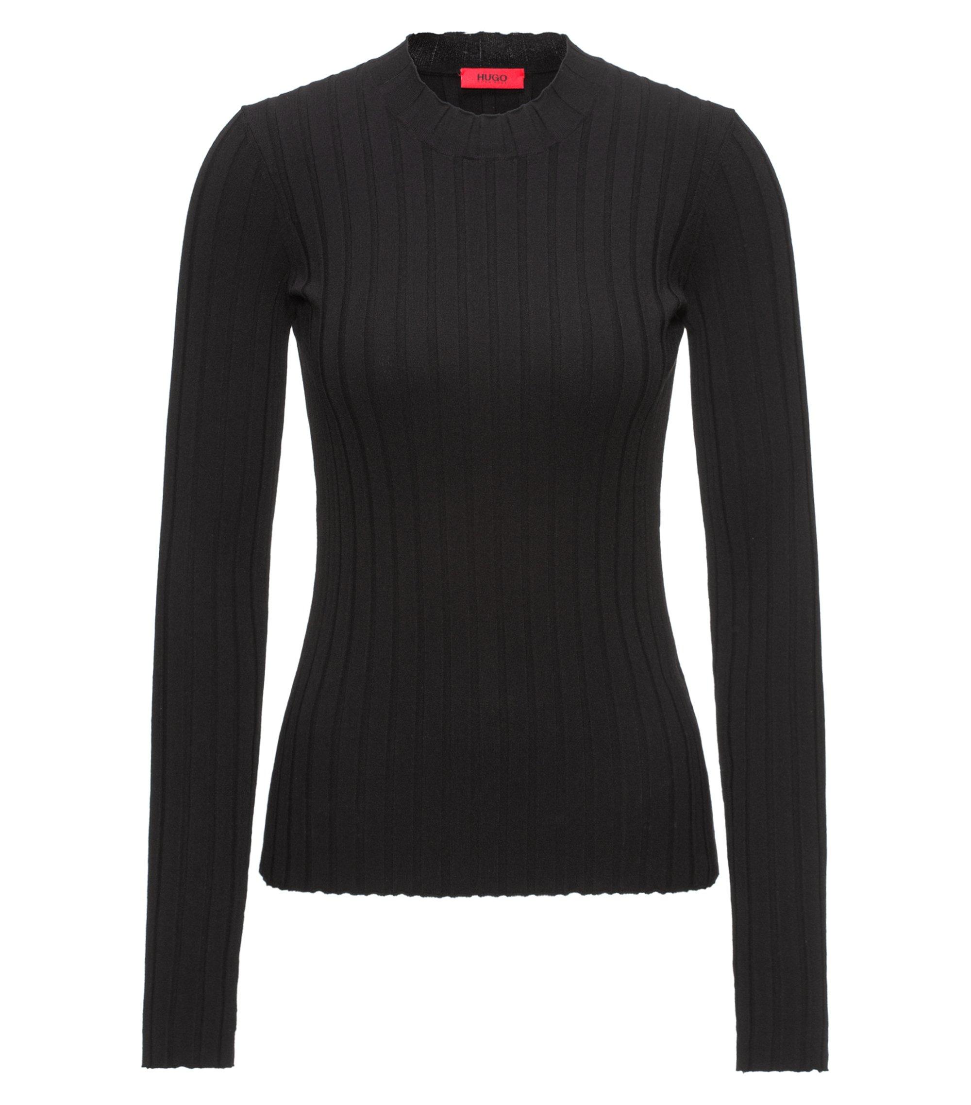 Hochgeschlossener Pullover aus Material-Mix mit Ripp-Struktur, Schwarz