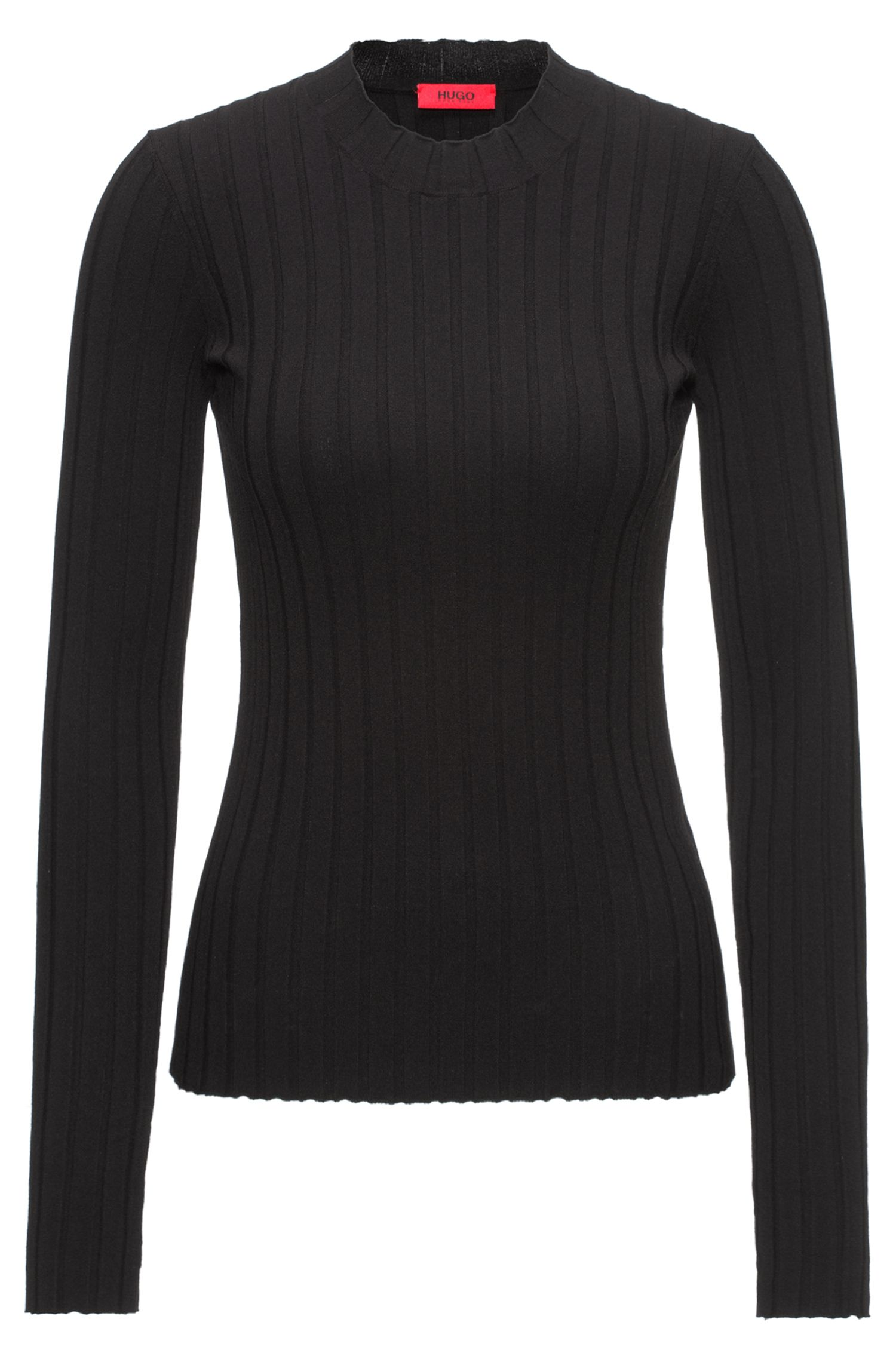 Wide-ribbed sweater with a high neckline