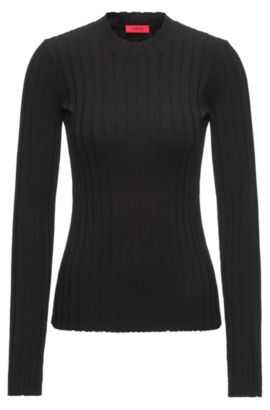 Wide-ribbed sweater with a high neckline, Black