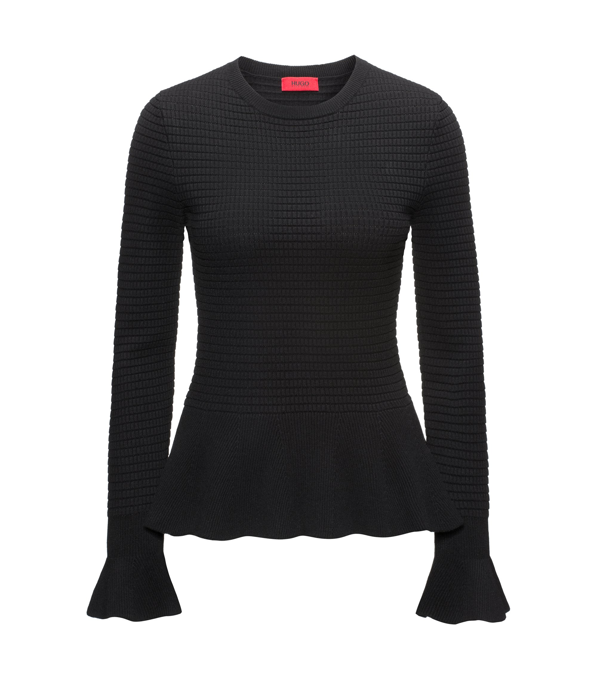 Peplum-hem knitted sweater in mixed knits, Black