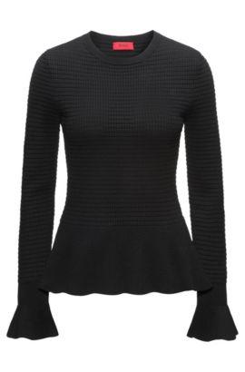 Gebreide trui met peplumzoom van gemengde breisels, Zwart