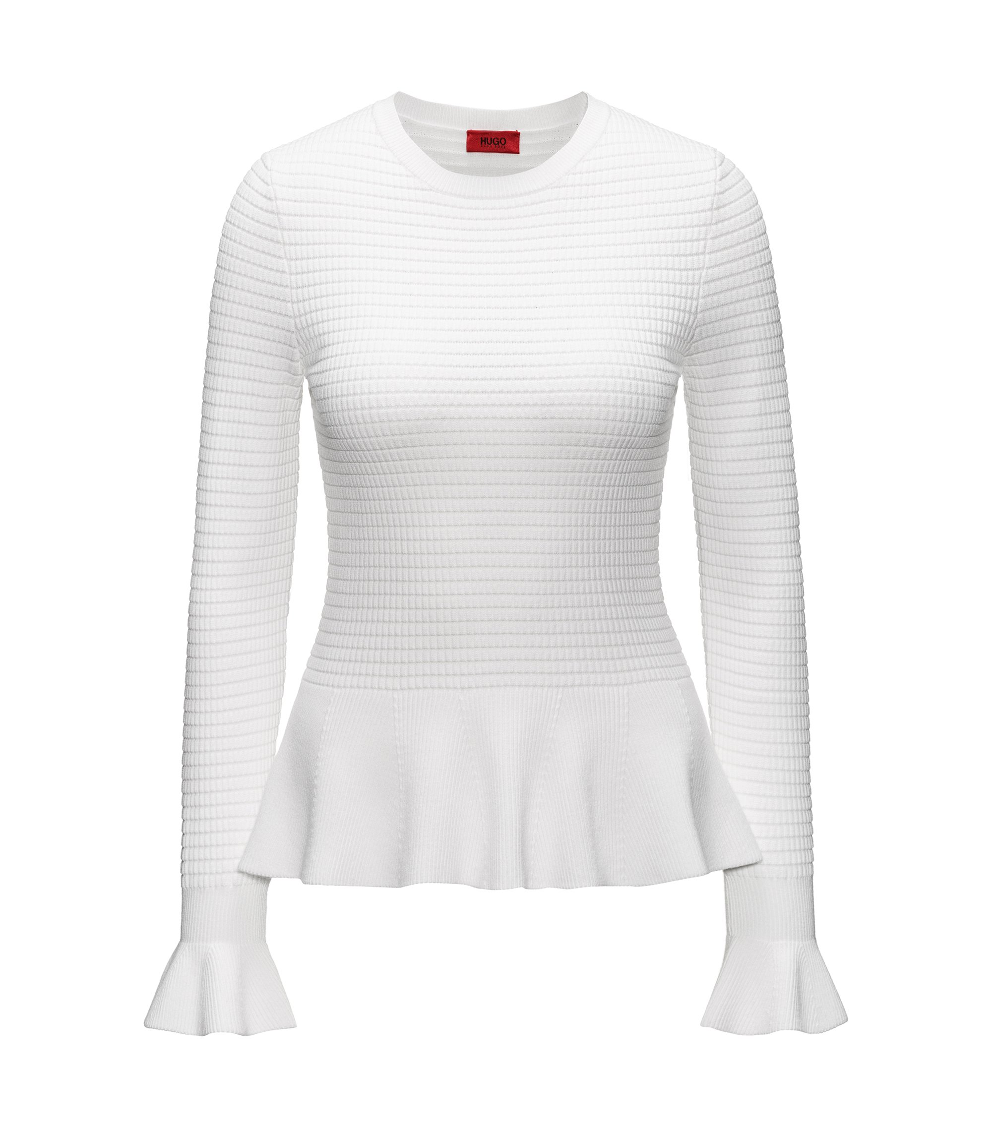 Peplum-hem knitted sweater in mixed knits, Natural