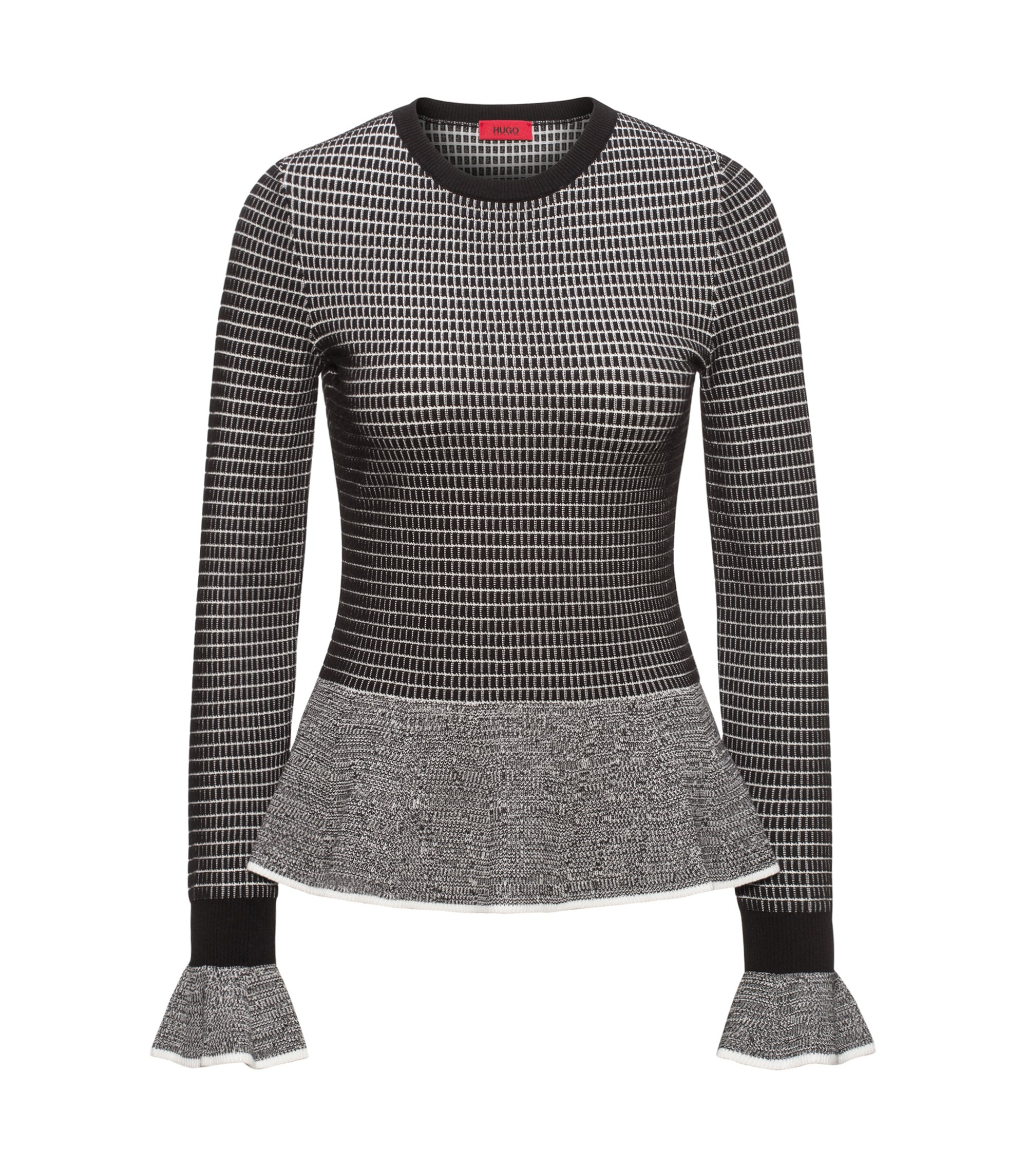 Peplum-hem knitted sweater in mixed knits, Patterned